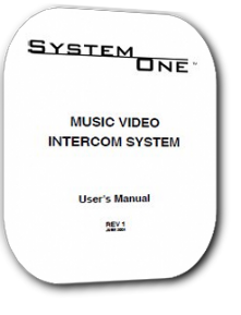 Valet System One Vision Video Intercom System users Manual