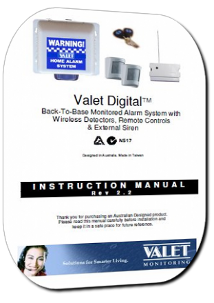 Valet VBC Wireless Monitored Alarm System Users Guide